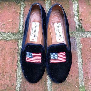 Shoes - Susan H American Flag Velvet Loafers